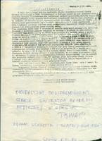 Oświadczenie o rozpoczęciu strajku z dopiskiem o strajku studenckim AMG (ze zbiorów Muzeum GUMed.)