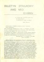 Biuletyn strajkowy z dnia 12.11.1980 r., opisujący kalendarium wydarzeń z obchodzonej przez strajkujących rocznicy odzyskania przez Polskę niepodległości (ze zbiorów Muzeum GUMed)